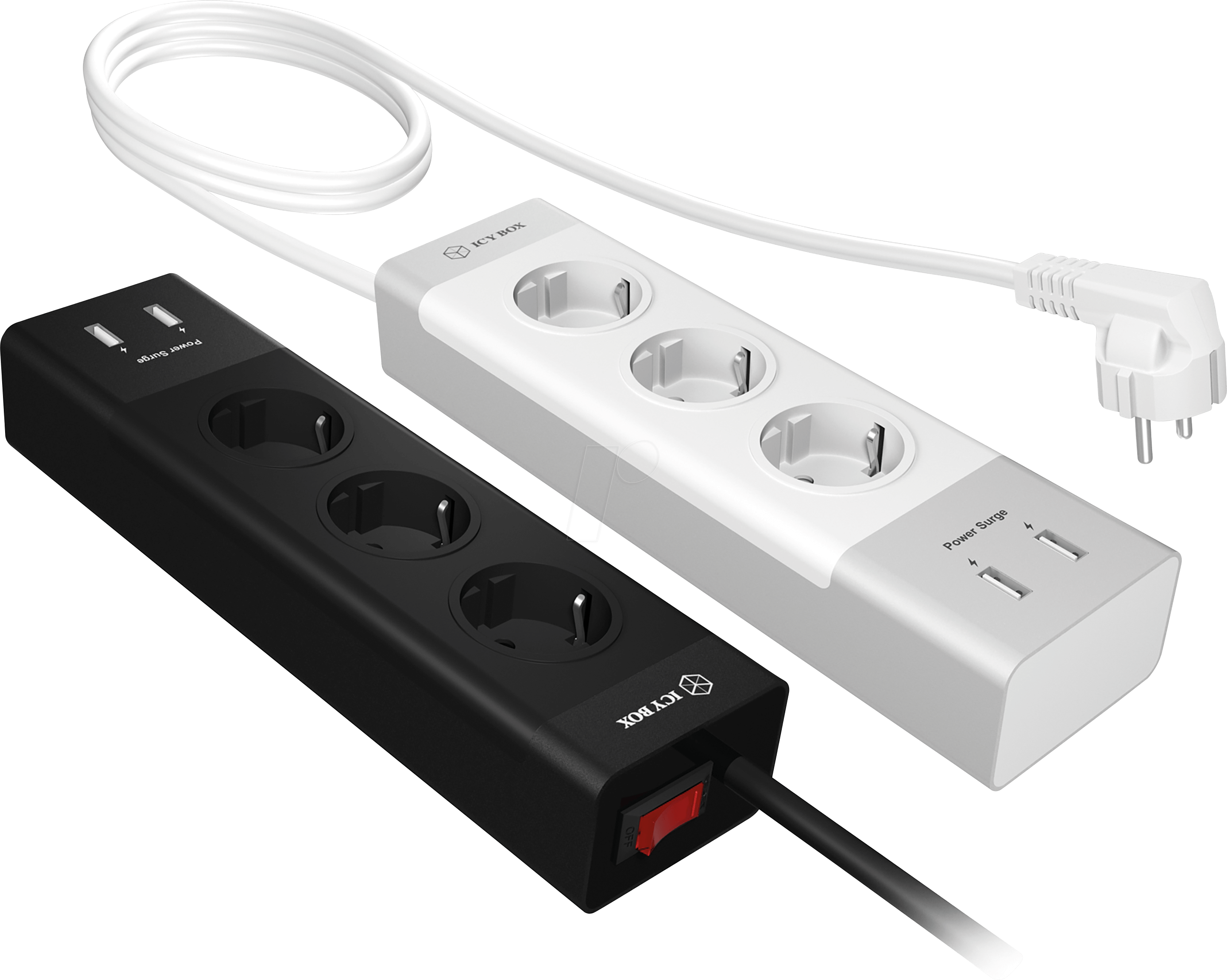 Mehrfachsteckdose Usb Icy Ib Cb004 S 3 Sockets And 2 Usb Charging Ports