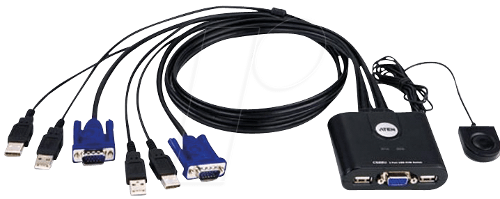 Lan Kabel Splitter Aten Cs22u: 2 Port Usb Kabel Kvm , Usb Und Vga Bei