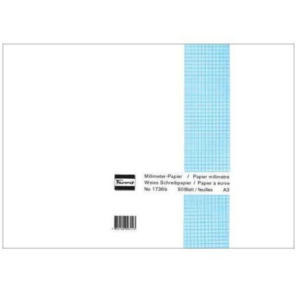 Graph paper pad, A3, 50 sheets, 80 gm2, blue (1736B)