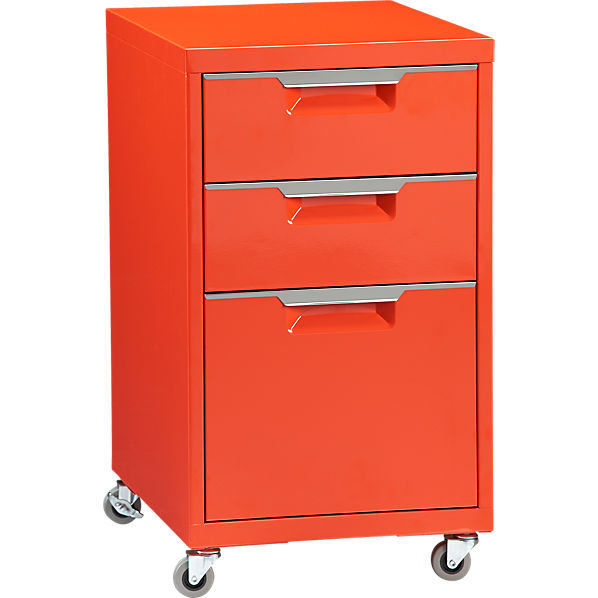TPS bright orange file cabinet in new from CB2
