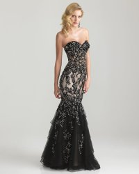 Black Beaded Lace & Tulle Strapless from Unique Vintage ...