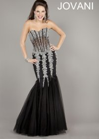 Jovani 5908 Black/Silver Strapless from Rissy Roo's | Prom