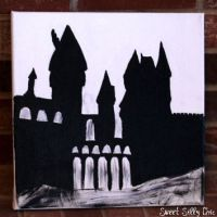 Hand Painted Hogwarts Silhouette Canvas from SweetSillyChic on