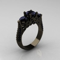 Black Gold Rings: Black Gold Rings 3 Diamonds Ring
