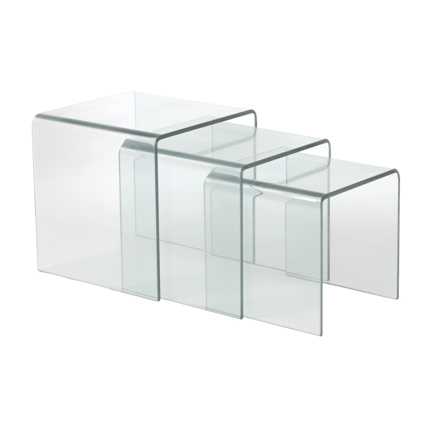 Glass Nesting Tables Bent Glass Nesting Tables Set Of 3 Affordably Modern Touch