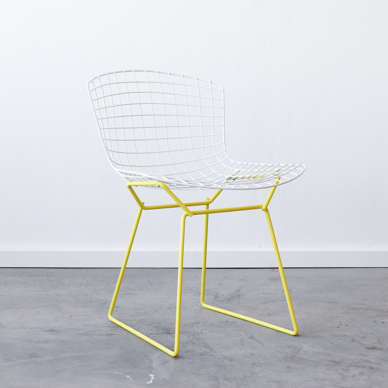 Knoll bertoia side chair white yellow