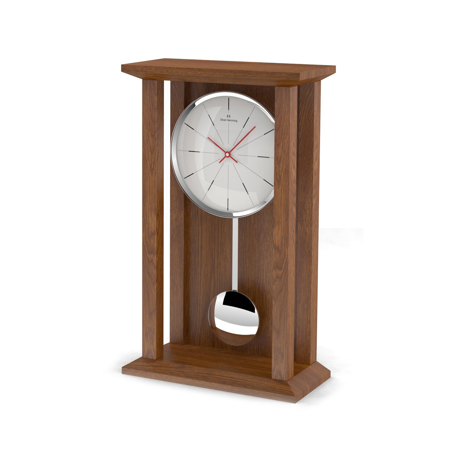 Table Clock Modern Tall Natural Oak Pendulum Table Clock Modern Lines