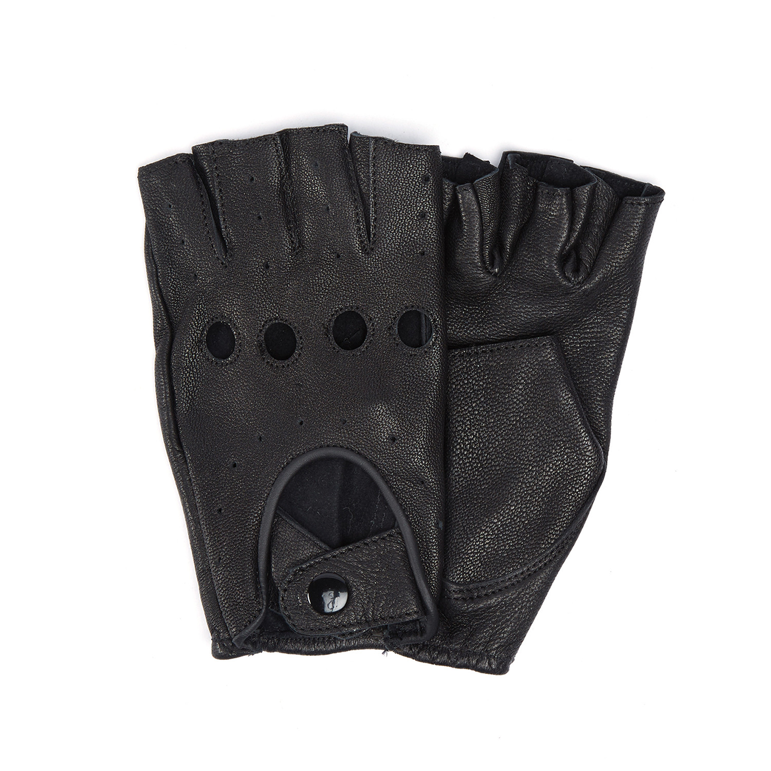Leather cut off driving gloves black s m