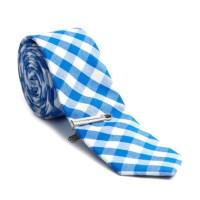 Checkered Skinny Tie + Tie Clip // Blue + White - Skinny ...