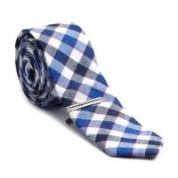 Checkered Skinny Tie + Tie Clip // Blue + Black - Skinny ...