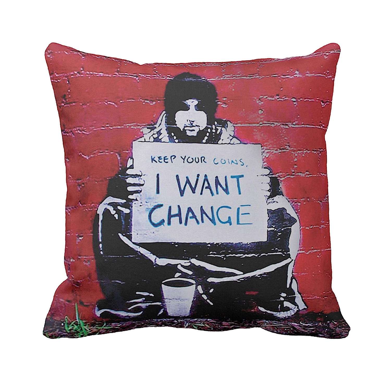 Pillows Melbourne Keep Your Coins I Want Change Melbourne Banksy Pillows Touch