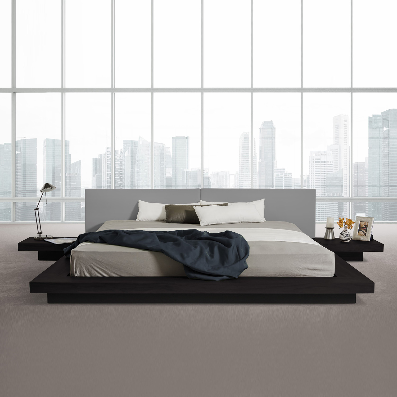 Low To Ground Bed Frames Modrest Opal Modern Low Profile Platform Bed Black