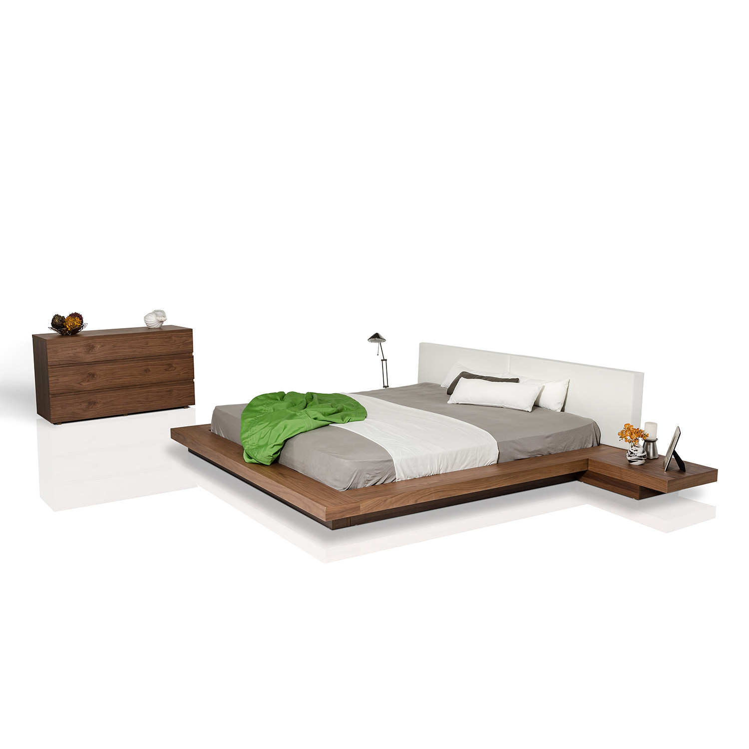 Low To The Ground Bed Frame Modrest Opal Modern Low Profile Platform Bed Walnut