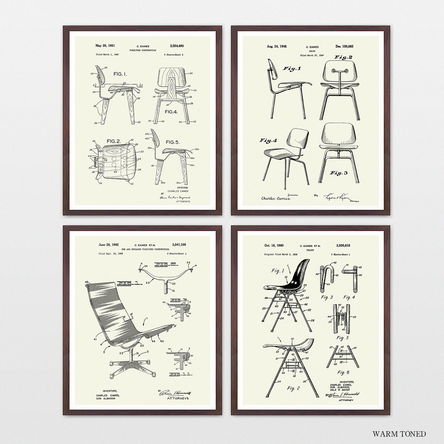 Eames Chair Patent Eames Chairs Patent Collection 4 Print Set Warm Toned