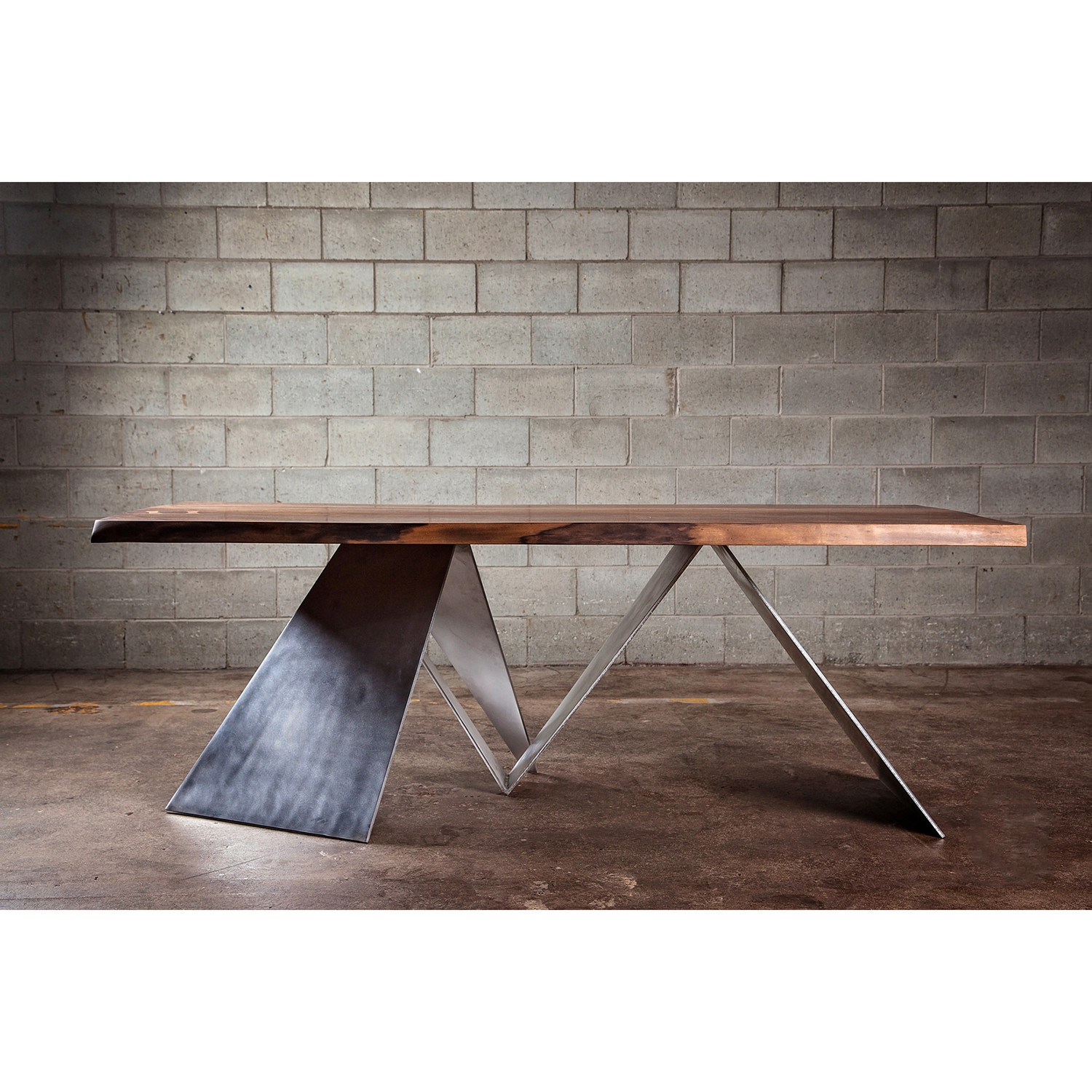 Table En Bois Design Dining Table Live Edge Black Walnut Aluminum Inserts 96