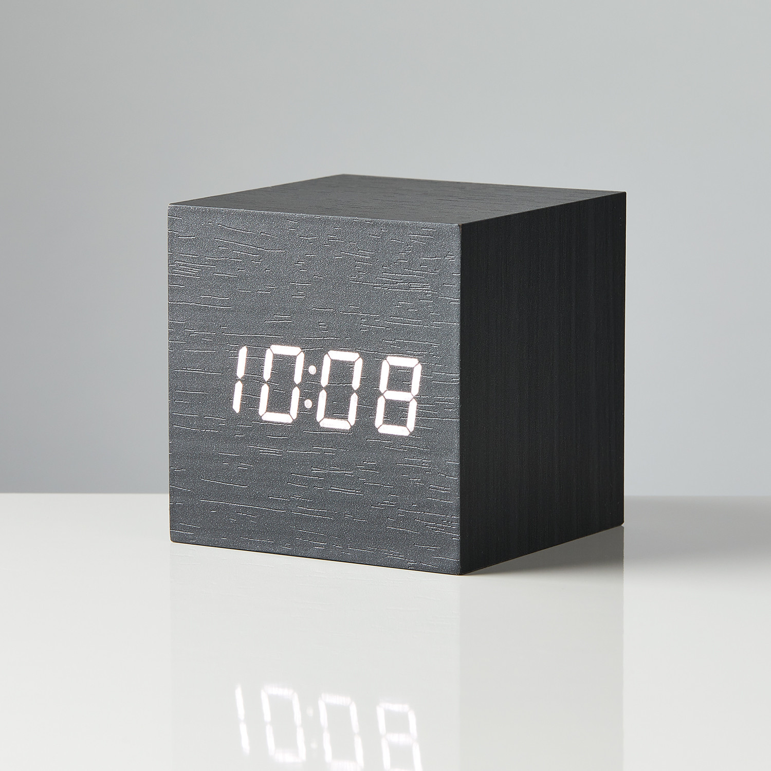 Led Box Block Clock Black With White Led Box And Accent Touch