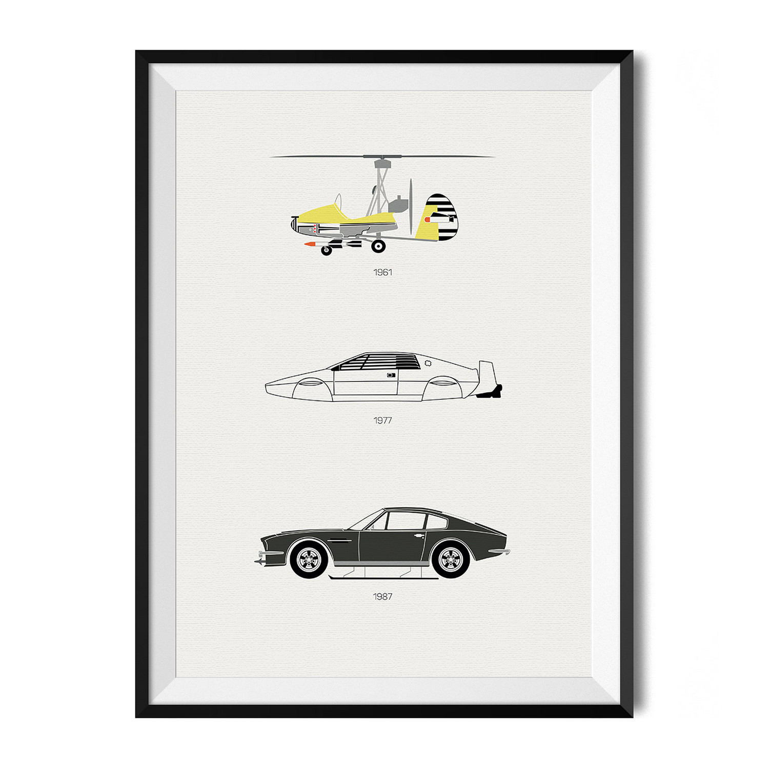 Large Black And White Posters Live And Let Drive The Iconic James Bond Car Rear View