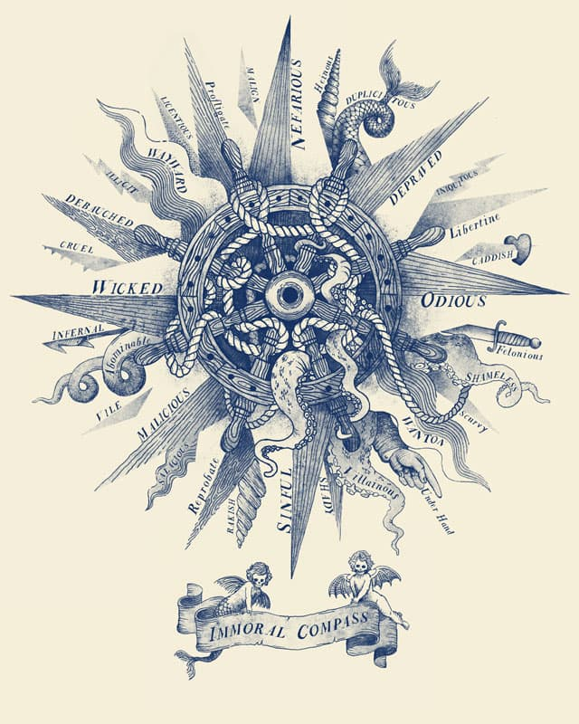 The Immoral Compass, a cool t-shirt by pweye on Threadless