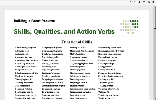 action verbs to use in resume