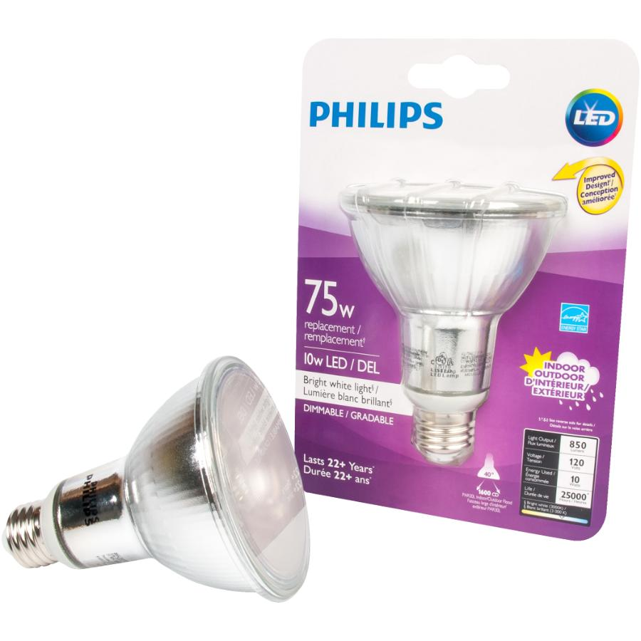 Bright Light Philips Philips 10w Par30 Medium Base Bright White Dimmable Long Neck Led
