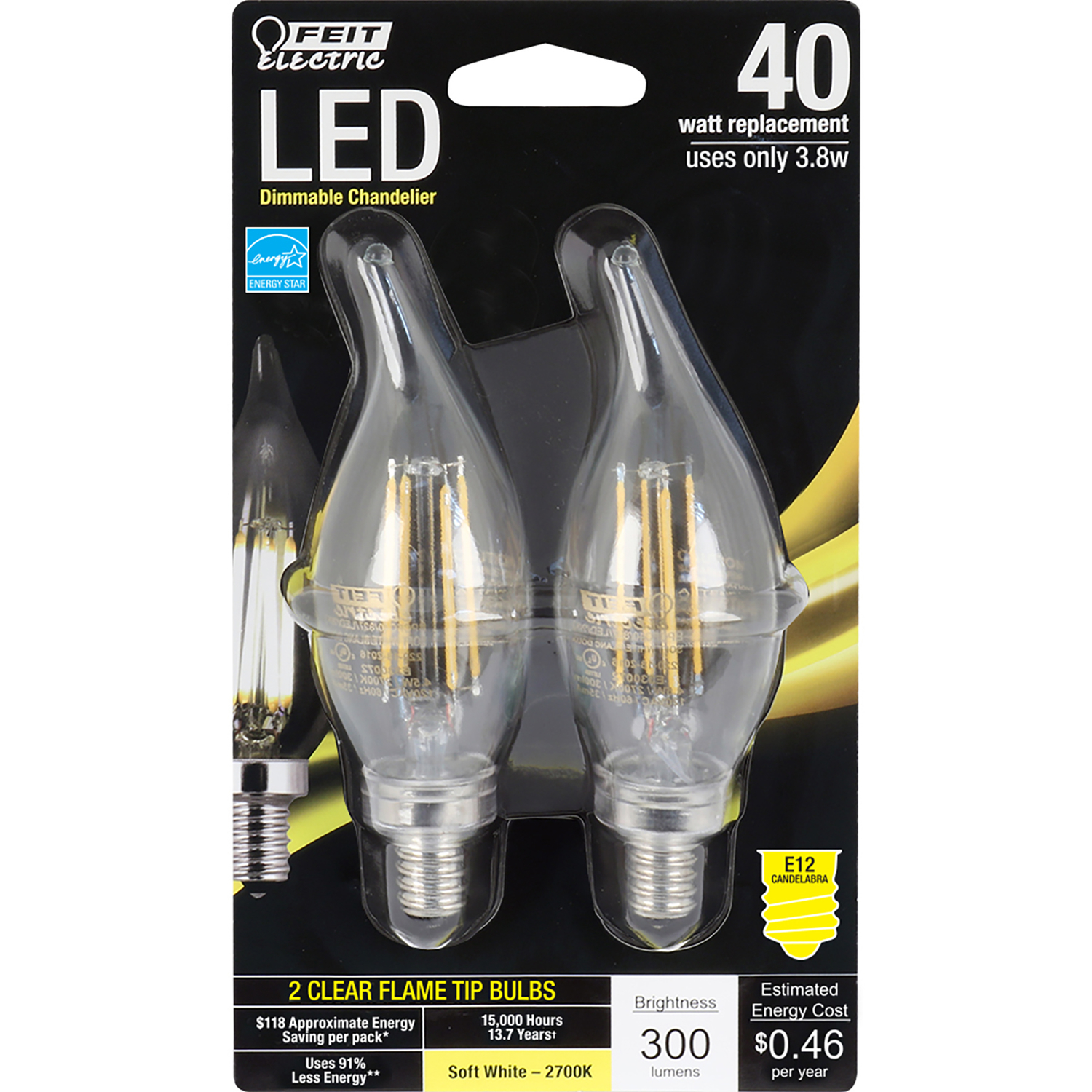 40 Watt In Lumen Feit Electric 4 5 Watts C10 Led Bulb 300 Lumens Chandelier 40 Watt