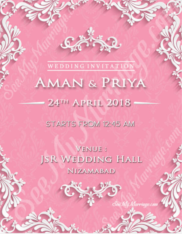 Awesome Creamy Pink Theme Royal Wedding Save The Date Invitation E
