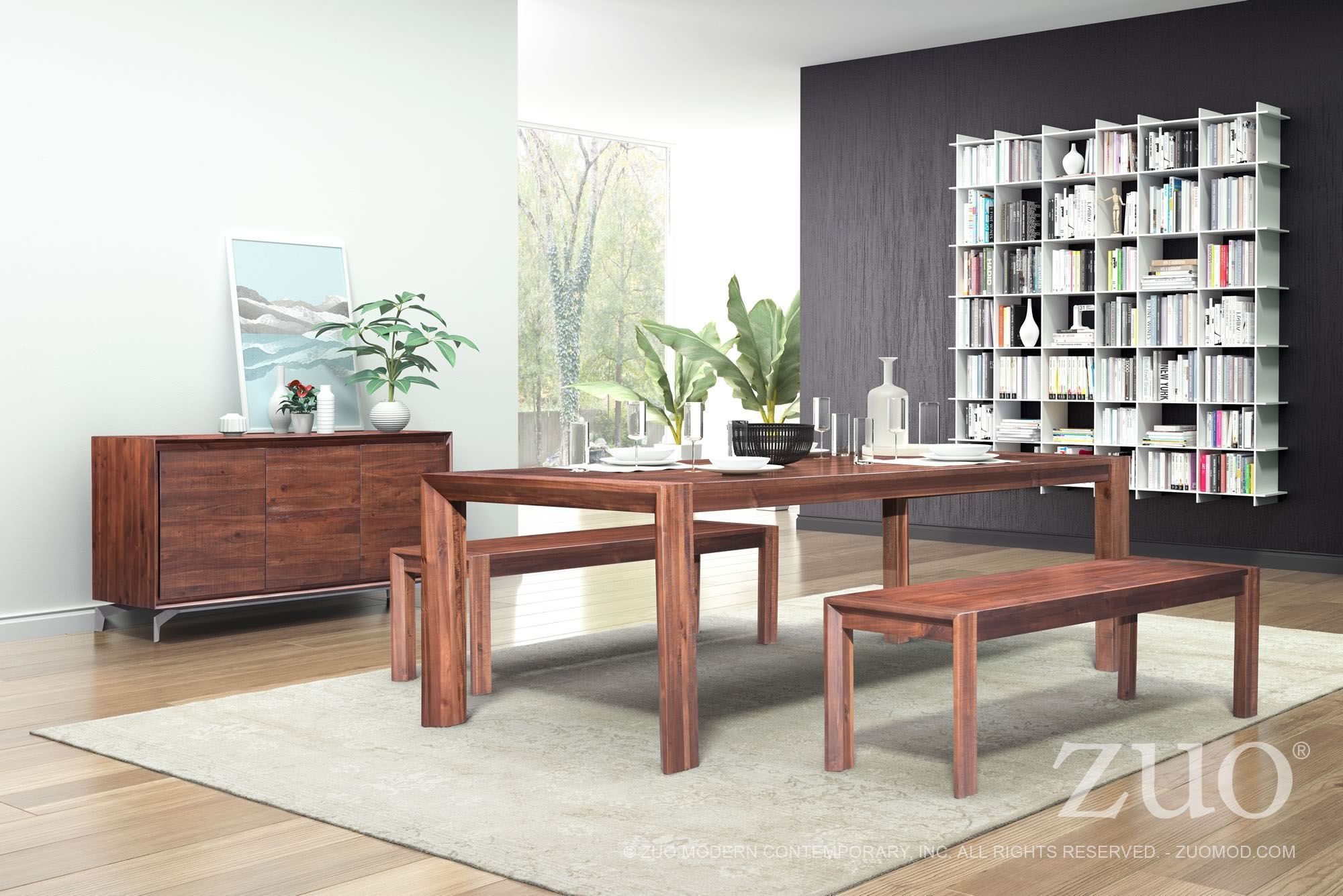 Free Furniture Perth Zuo Modern Perth Chestnut Extendable Dining Room Set