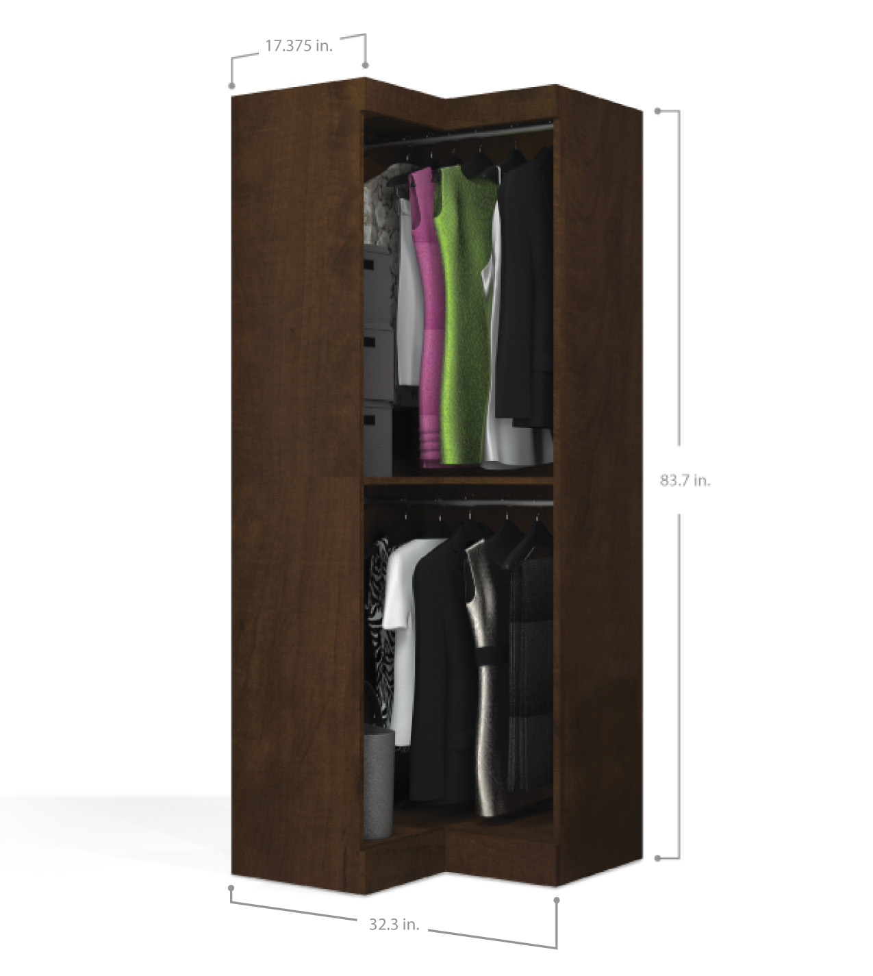 Corner Wardrobe Pur Chocolate Open Corner Wardrobe
