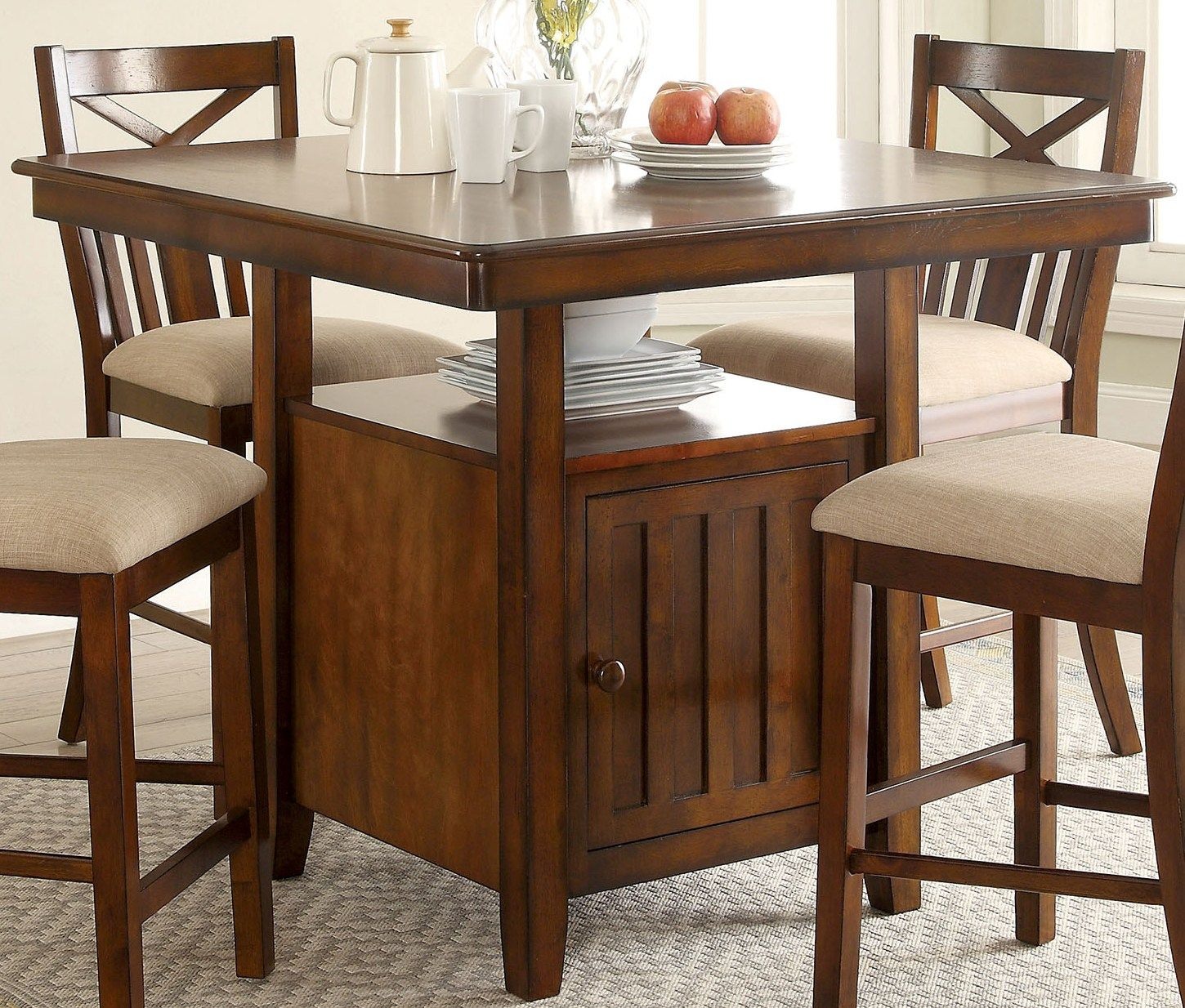 Dining Table Height Cm Furniture Of America Arlington Brown Cherry Counter Height