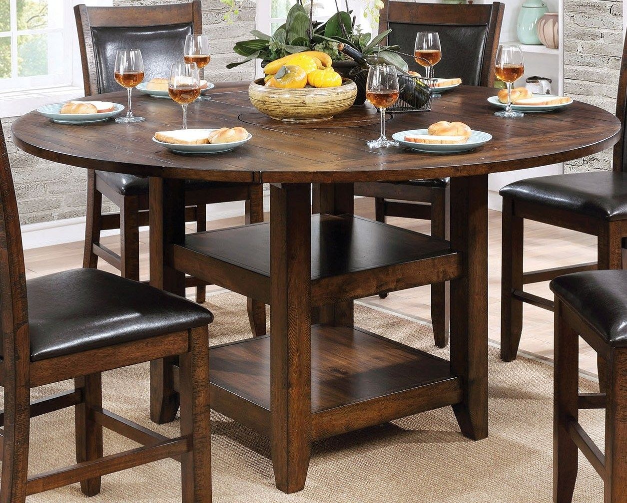 Dining Table Height Cm Furniture Of America Meagan Ii Brown Cherry Round Counter