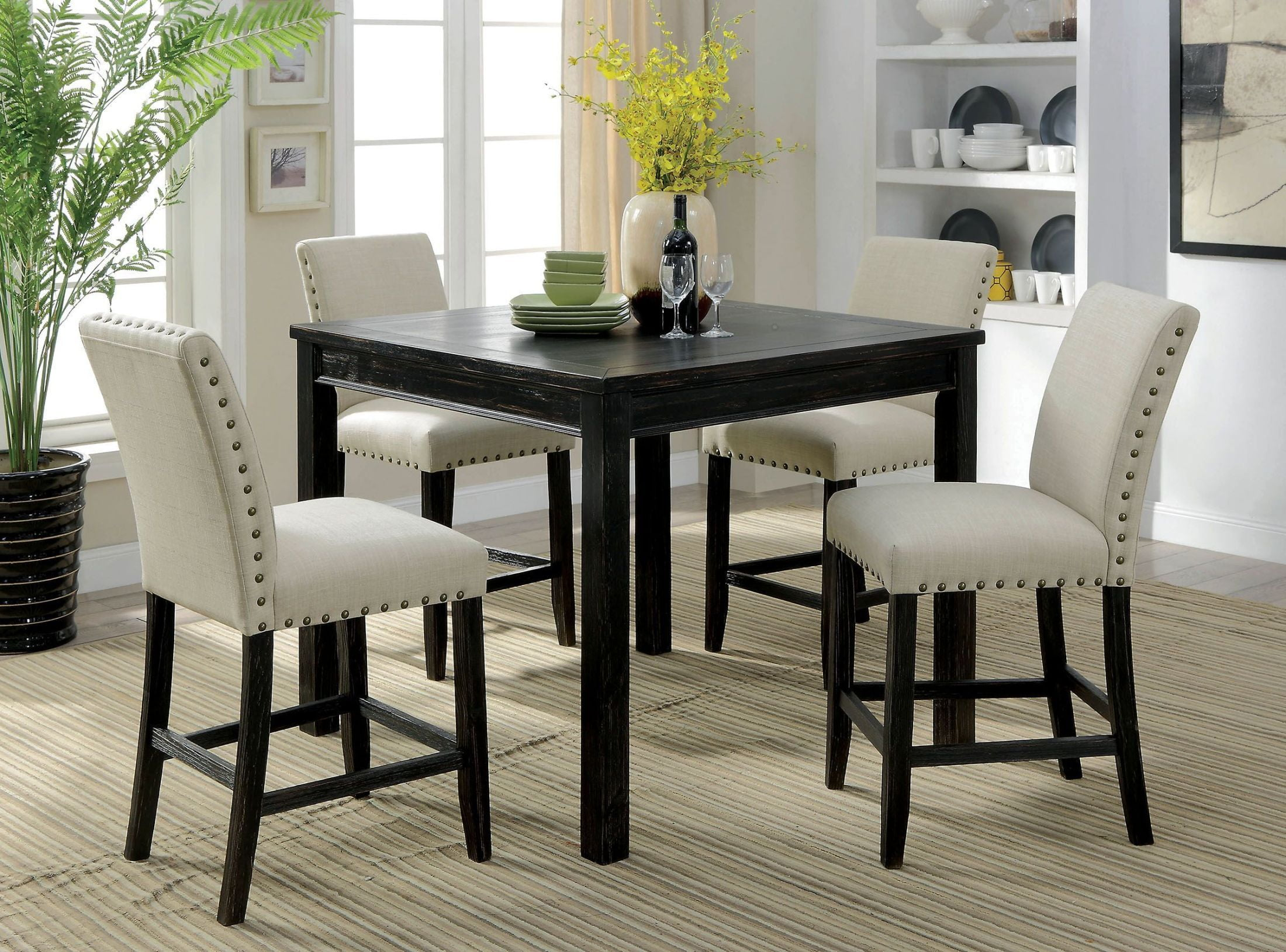 Dining Table Height Cm Furniture Of America Kristie Antique Black Counter Height
