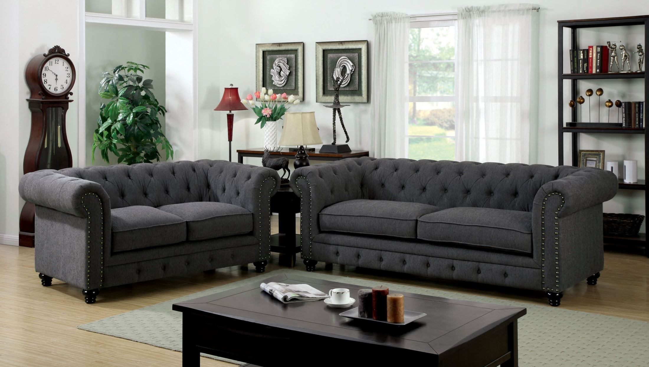 Barlow White Leather Sofa And Loveseat Set Stanford Gray Fabric Living Room Set