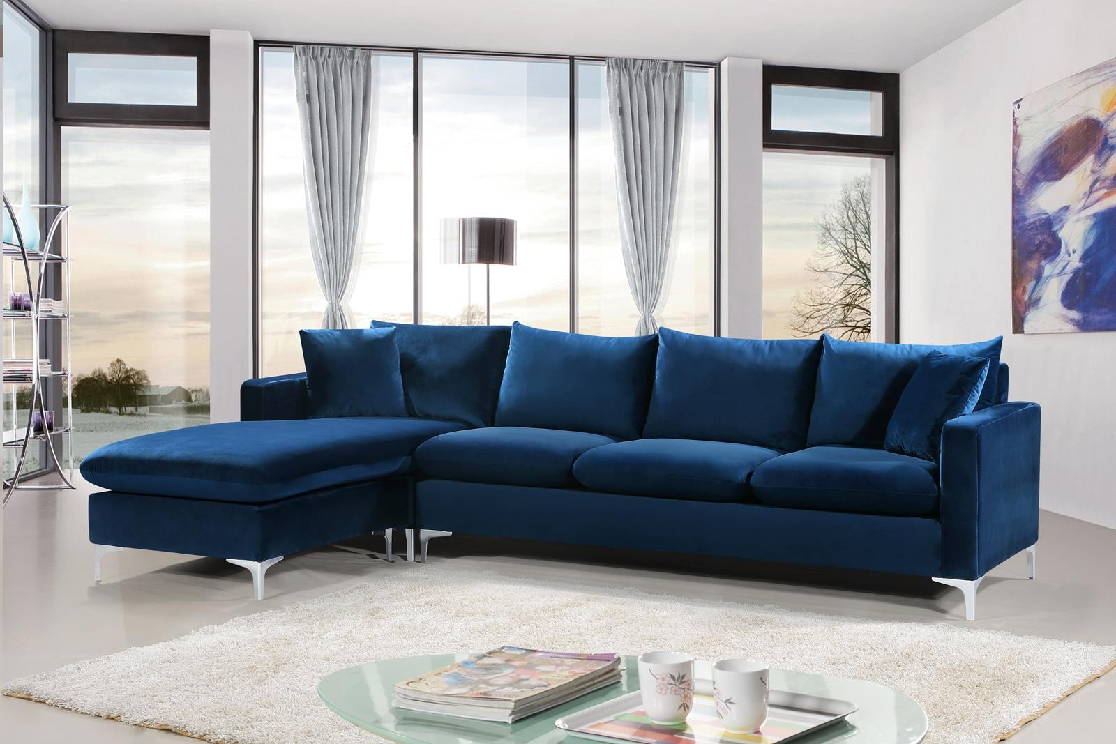 Interio Bettsofa Naimo Meridian Naomi Velvet 3pc Sectional In Navy 636navy Sectional