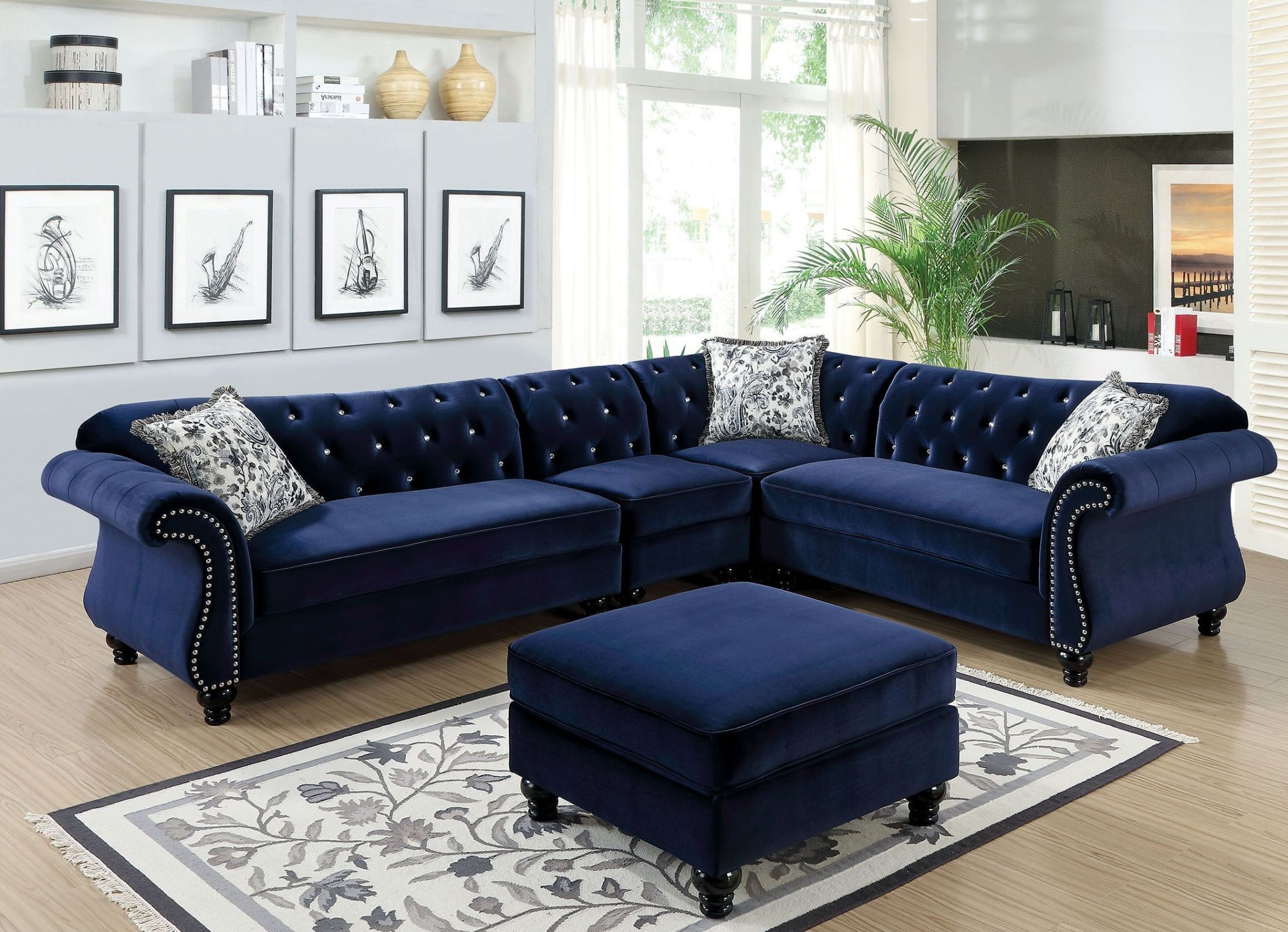 Blue Sectional Jolanda Ii Blue Sectional