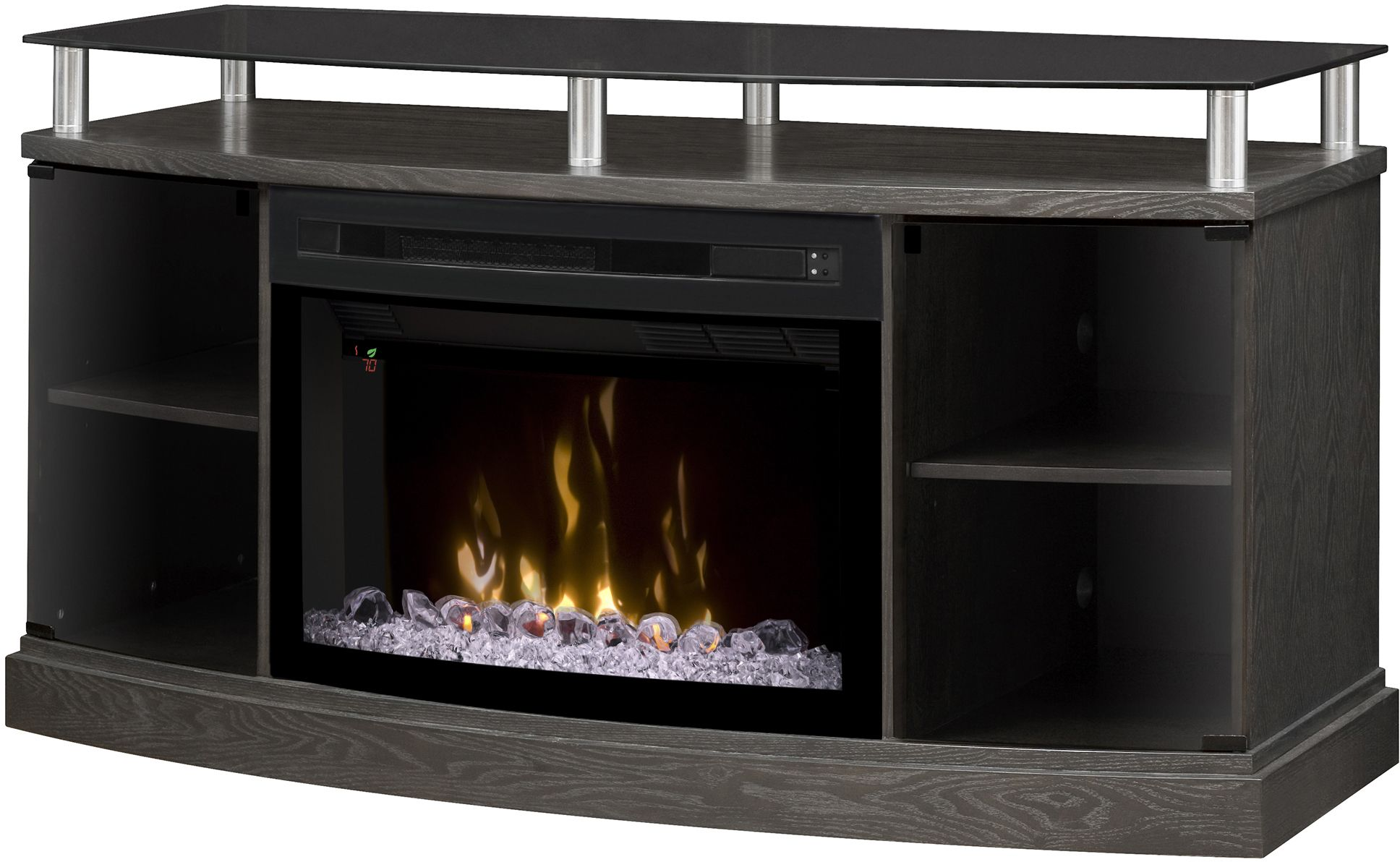 Curved Electric Fireplace Windham Silver Charcoal Media Console Electric Fireplace With Curved Glass Front
