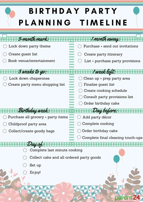 Taking the pain out of birthday party planning Parent24 - party planning schedule