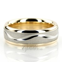 Elegant Wave Design Two-Tone Wedding Ring - TT225 - 14K Gold