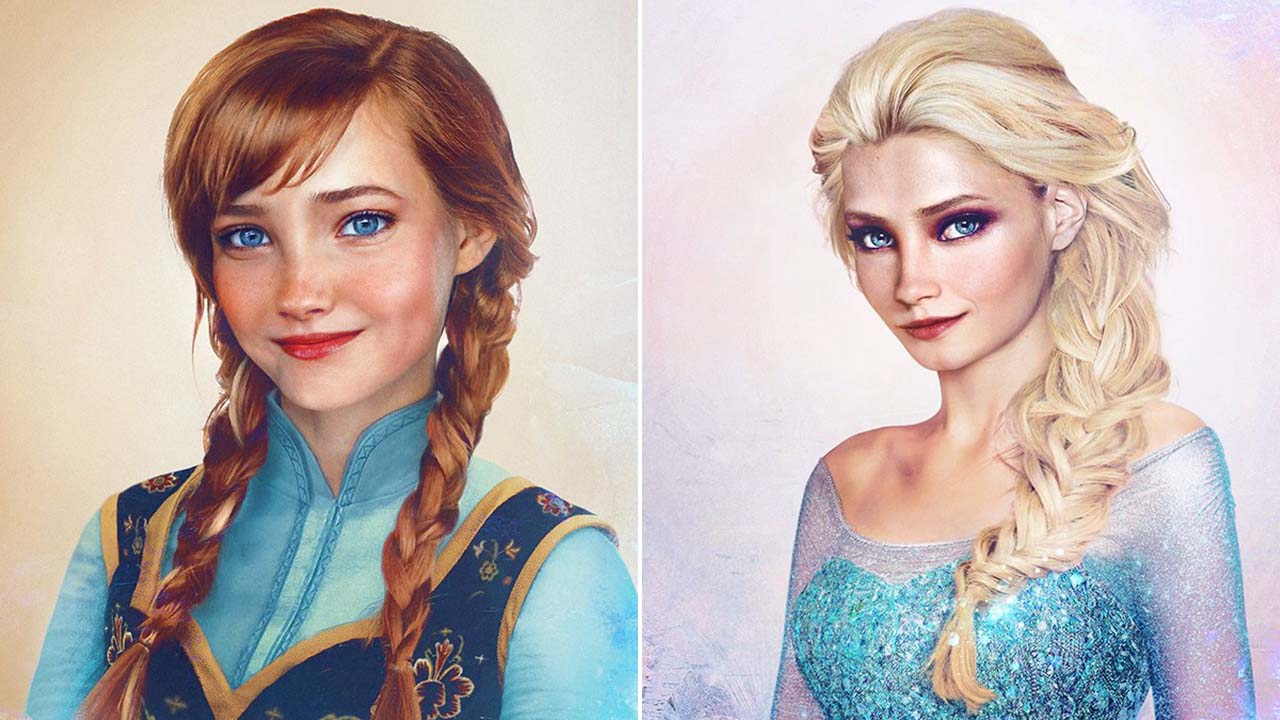 Elsa Anna Anna And Elsa Join Artists Series Of Classic Disney Princesses To