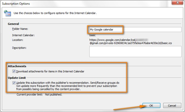 How to sync Google Calendar with Outlook (2010, 2013 and 2016) - steps for creating a grant calendar