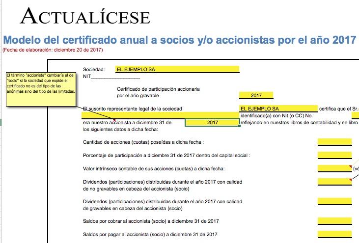 Modelo del certificado anual a socios y/o accionistas