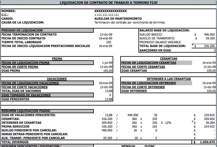 liquidación Modelos y Formatos