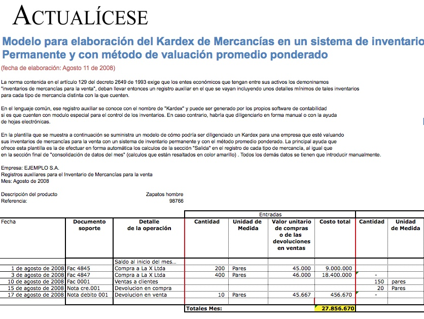 kardex Modelos y Formatos