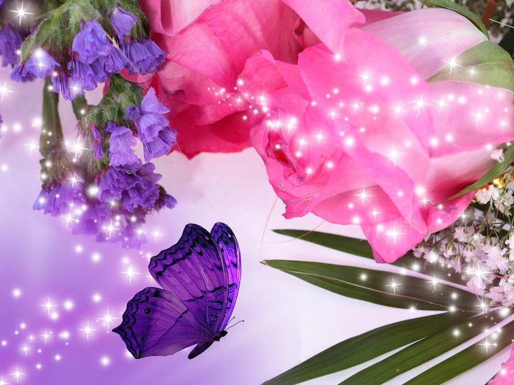 Microsoft Animated Wallpaper Pink Roses And Purple Flowers Wallpaper Allwallpaper In