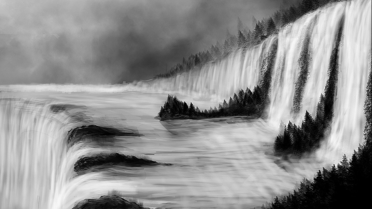 Falling Water Hd Wallpaper Landscapes Nature Trees Forests Grayscale Digital Art