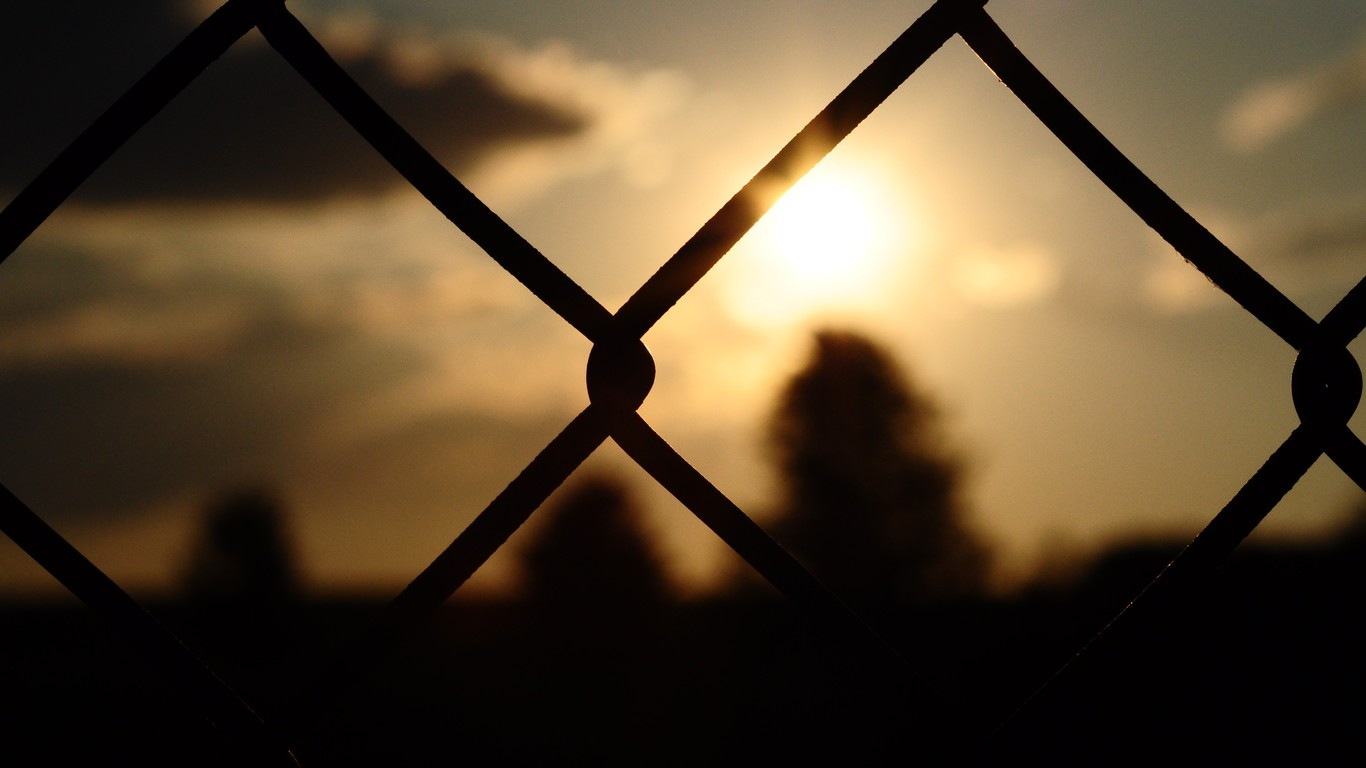 Diamond Iphone Wallpaper Hd Blurred Background Chain Link Fence Fences Silhouettes