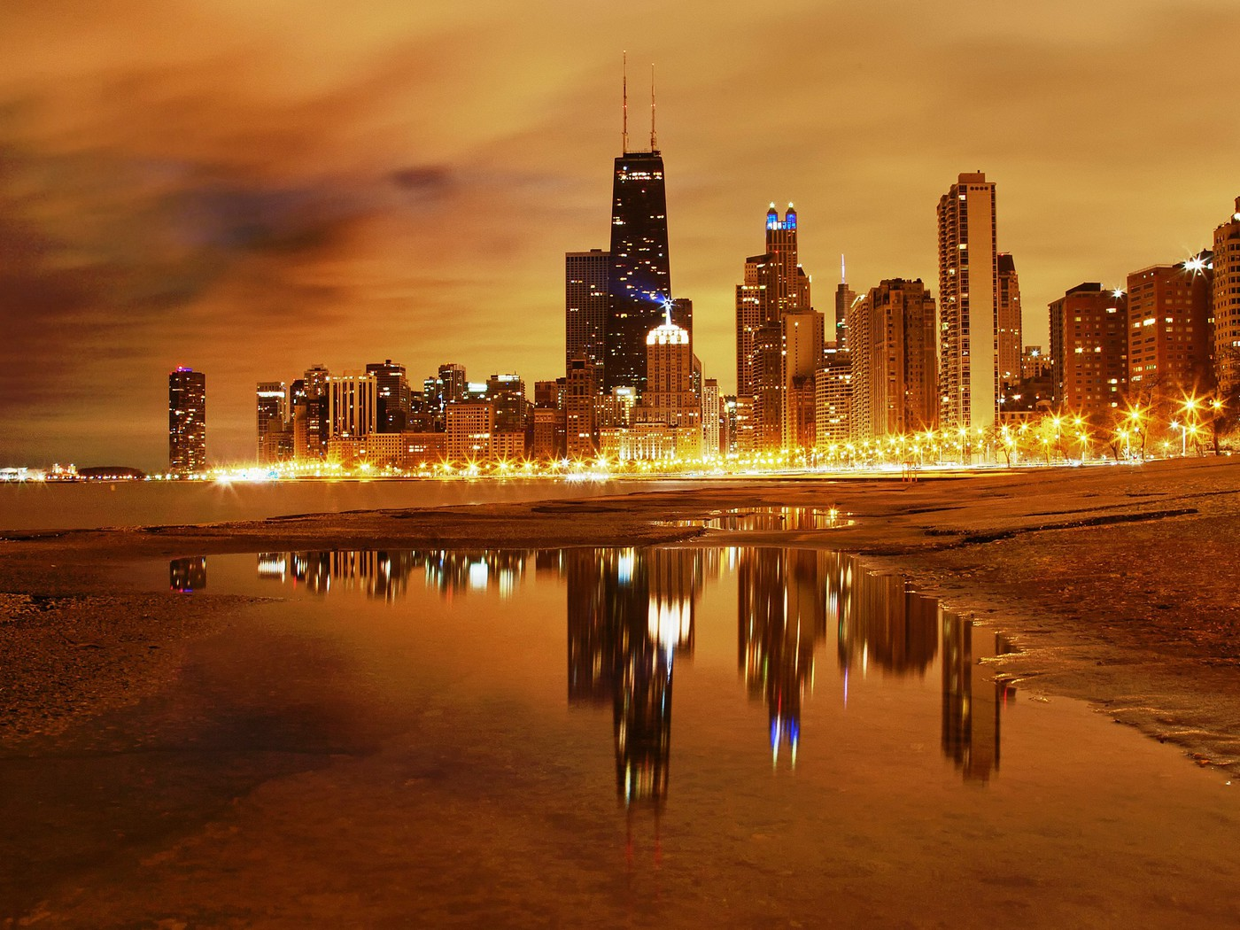 Best Hd Wallpapers For Iphone X Chicago Skyline At Night Wallpaper Allwallpaper In 536