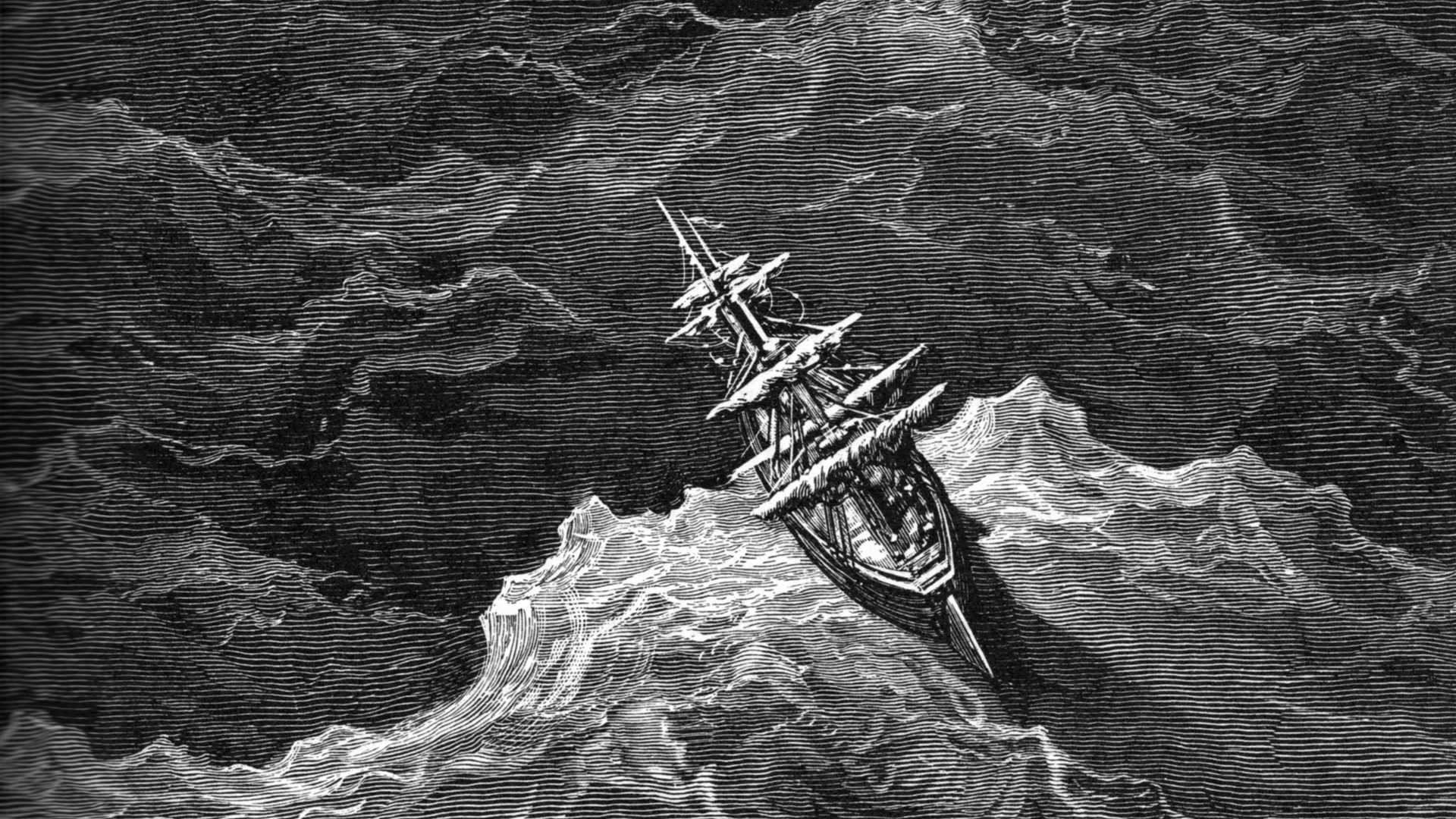 Satanic Iphone Wallpaper Gustave Dore Artwork Drawings Grayscale Sea Wallpaper