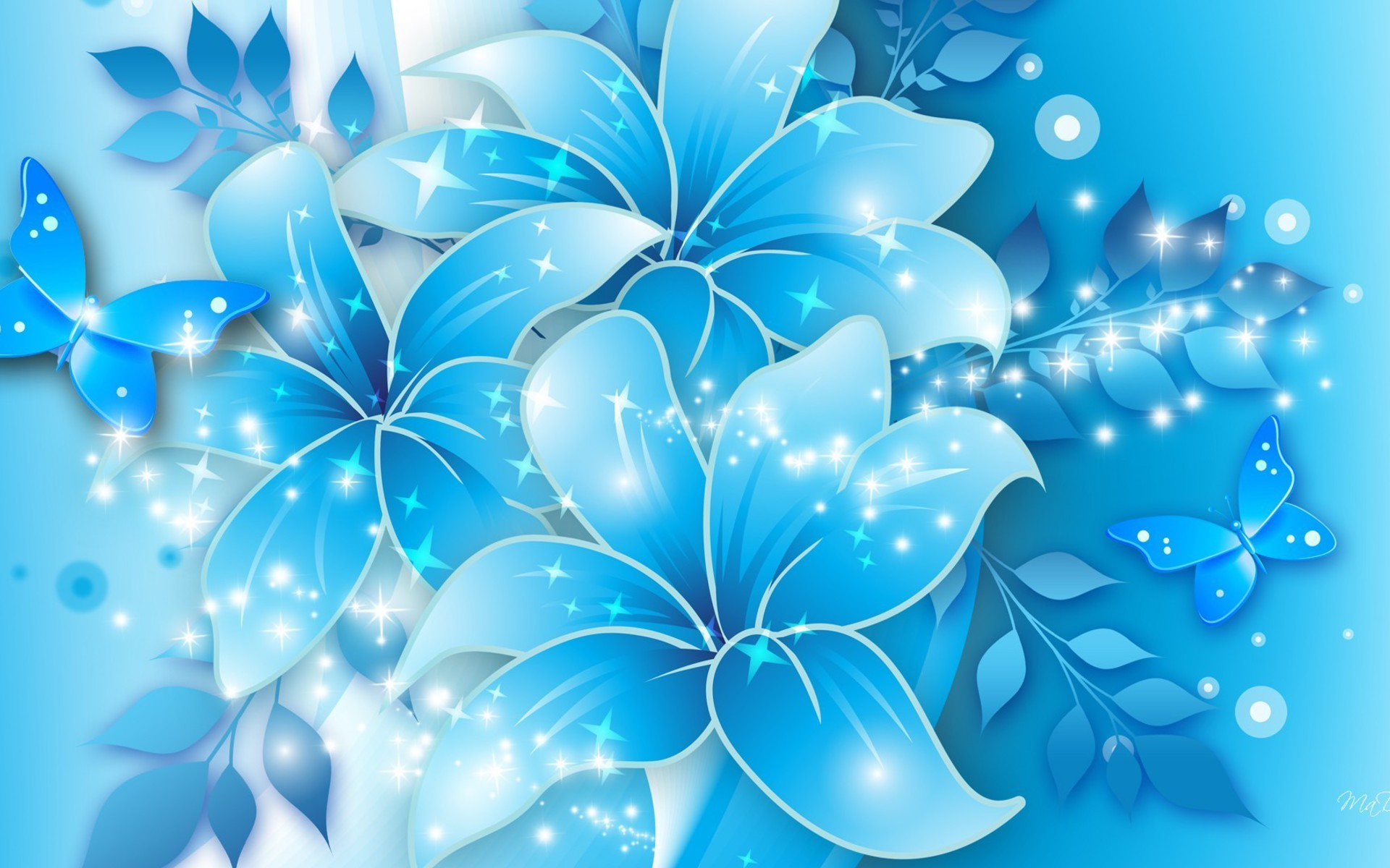 Background Pastel Biru Blue Butterflies Lilies Wallpaper | Allwallpaper.in #4048