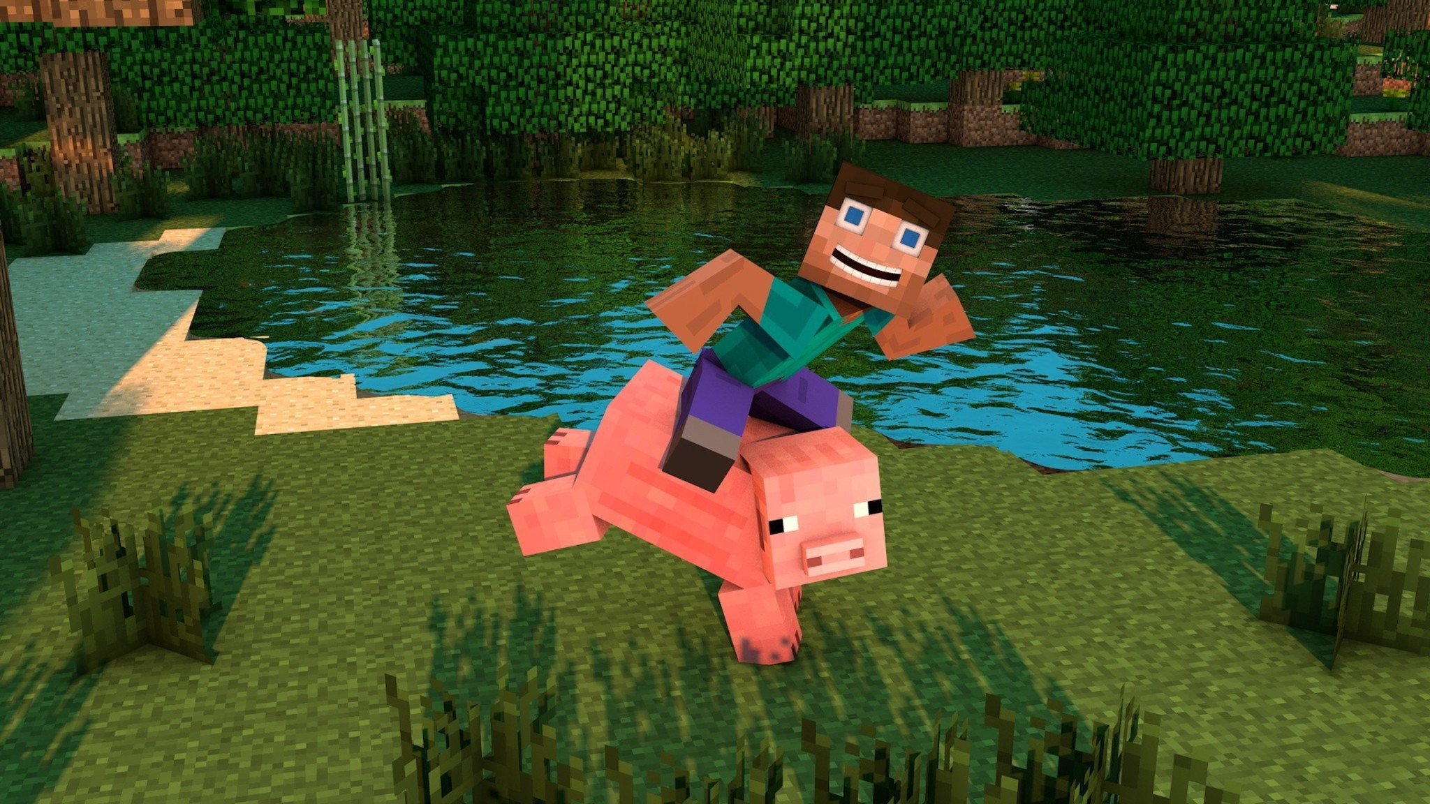 I Want To Download Cute Wallpapers Minecraft Pig Ride Wallpaper Allwallpaper In 6660 Pc En