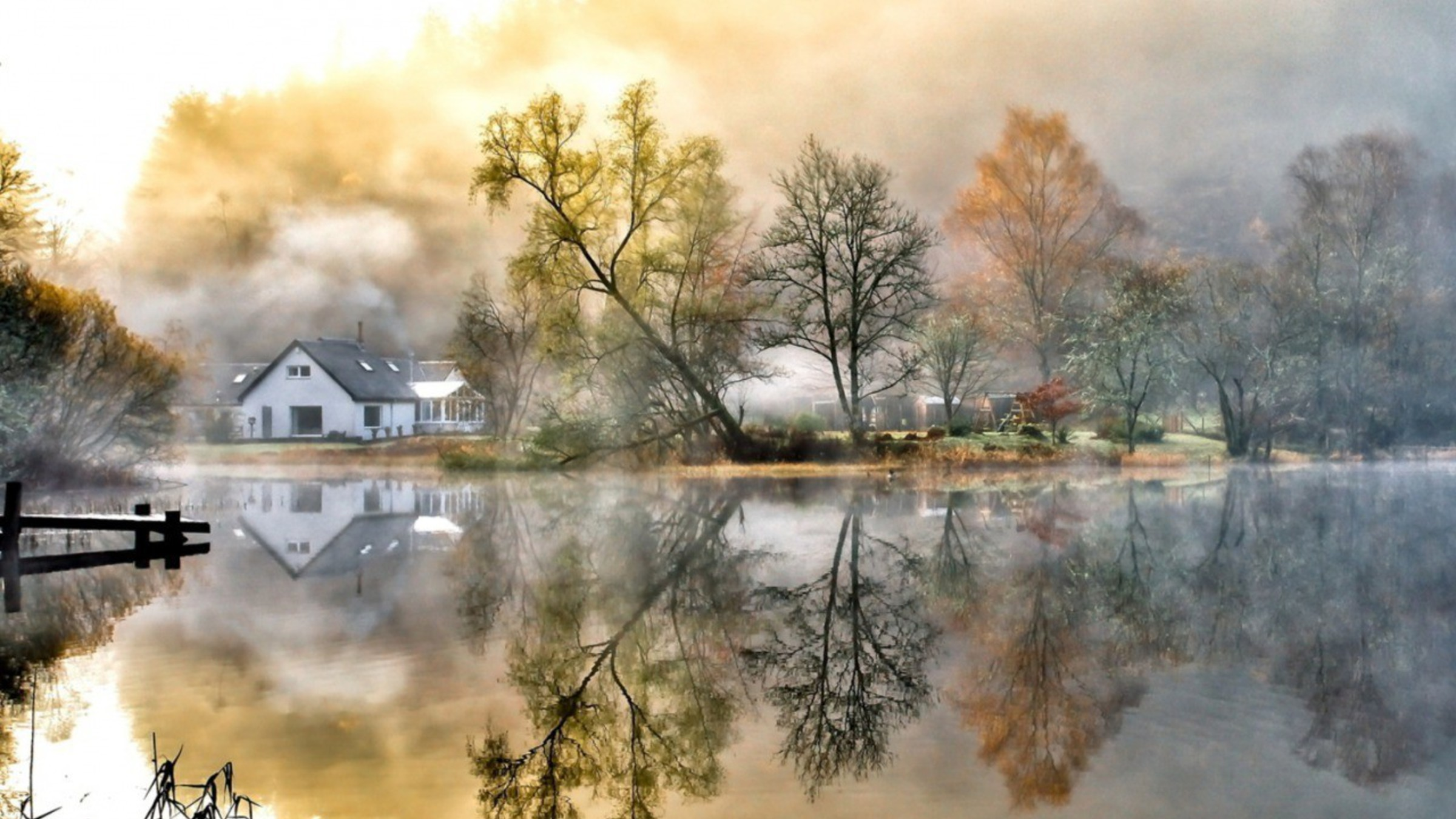Late Fall Wallpaper Nature Country Home House Landscapes Mountains Wallpaper